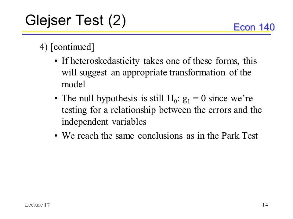 Glejser Test (2) 4) [continued]